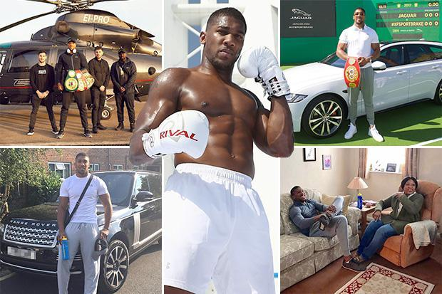 Anthony Joshua lives a life of luxury with private jets and a fleet of cars without having to spend a penny